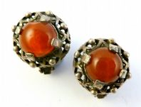 Vintage Faux Carnelian Celtic Style Clip On Earrings By Miracle.